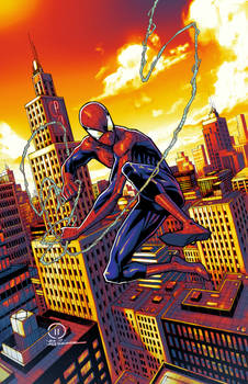 Spider-man swinging through the City colors ver 2