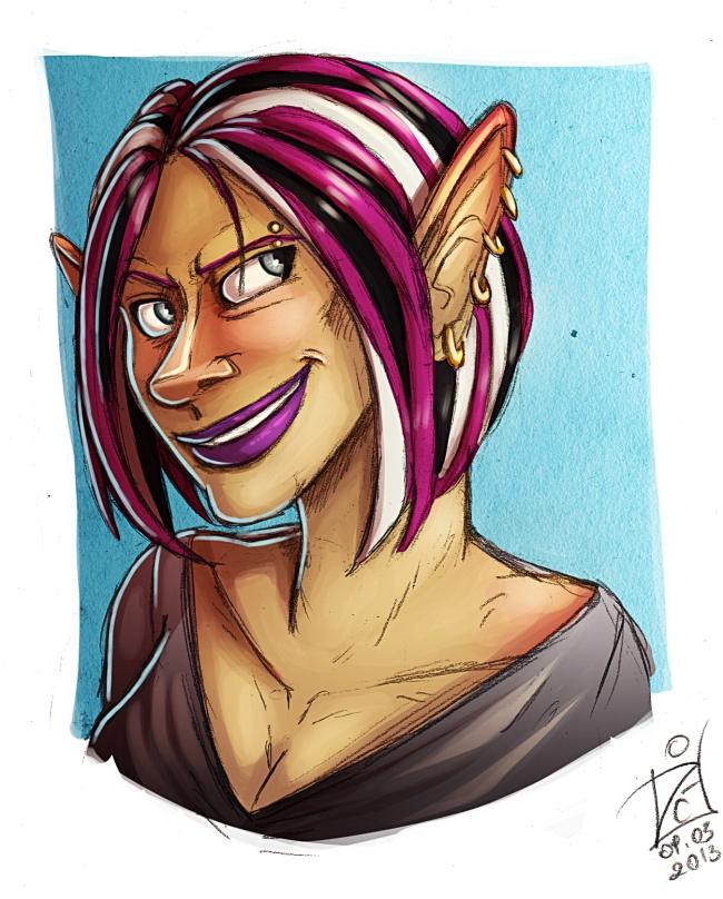 Smirking elf - commission by iisjah