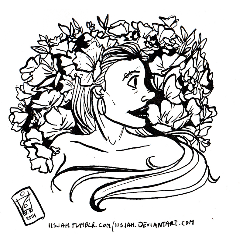 Flower lady - Inktober 7 by iisjah