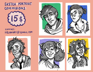 15$ sketch commissions - limited places