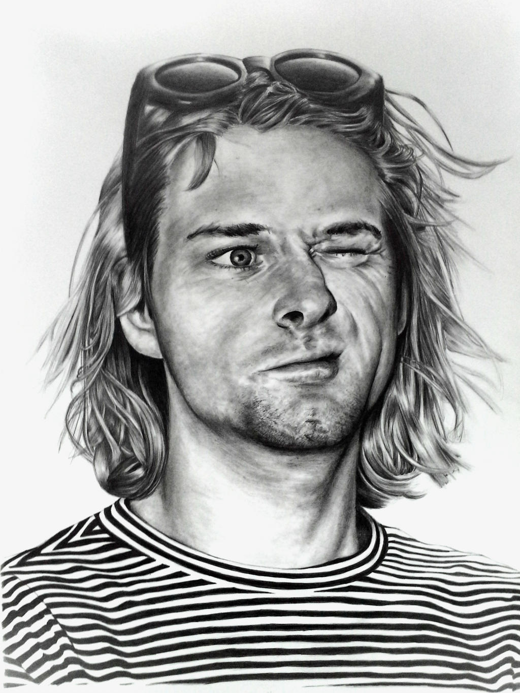 It is a photo of Hilaire Drawing Of Kurt Cobain