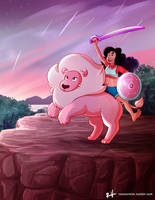 Stevonnie and Lion by ReneeViolet