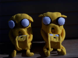 Jake the Dog Plushies with matching scarves by eebharas