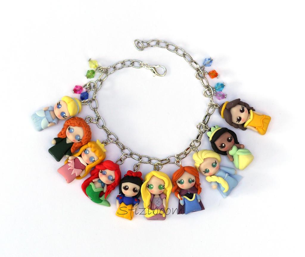 Polymer Clay Charm Bracelet: Princesses Charms Bracelet Polymer Clay By Sfiziboom On
