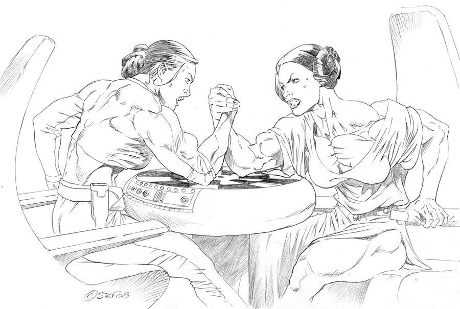 Padme Armwrestling Leia by hardbodies