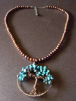 Turquoise Tree of Life Pendant and Pearl Necklace by A-Sharper-Spectrum