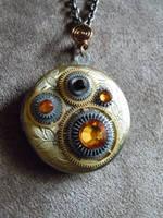 Honey Steampunk Clock Gears Brass Locket Necklace by A-Sharper-Spectrum