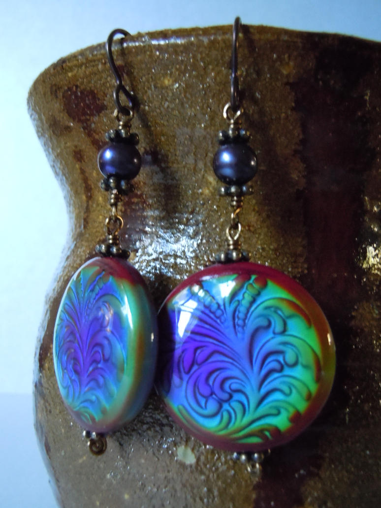 chagne colored earrings mirage color changing mood bead earrings by a 1143