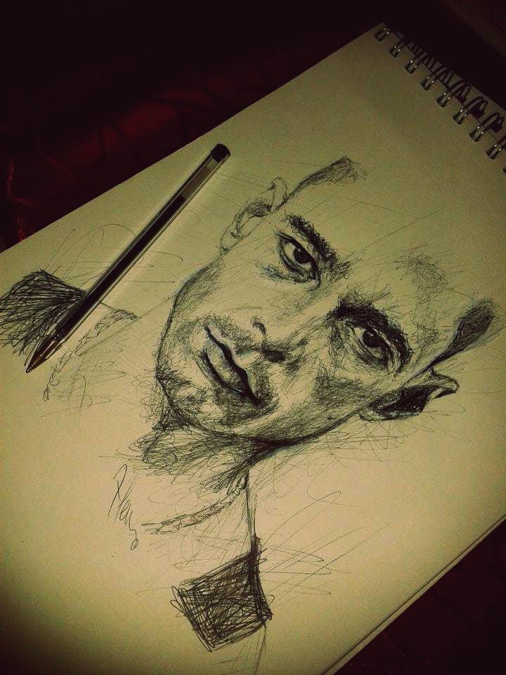 Fast portrait with black pen by IamLesFleurs