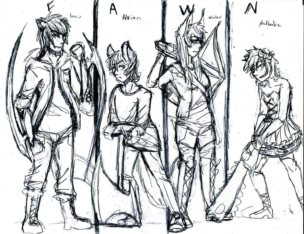 team fawn rwby ocs sketch wip by wolf wishes
