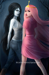 Marceline and bubblegum by Opeiaa