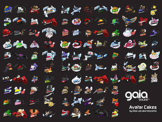 Gaia Online Avatar Cakes wall by elsalee