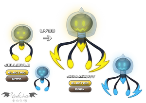 Jellibulb and Jellowatt (Electric/Dark Fakemon)