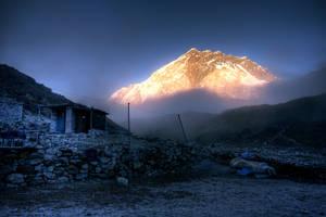 Peak in the fog by godintraining