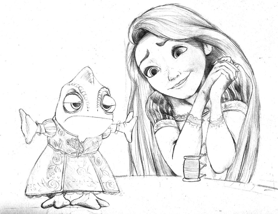 Rapunzel And Pascal Pencil Sketch By Guyx23 On Deviantart