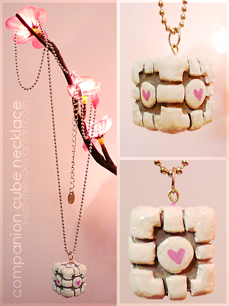 Companion Cube Necklace by Kezzi-Rose