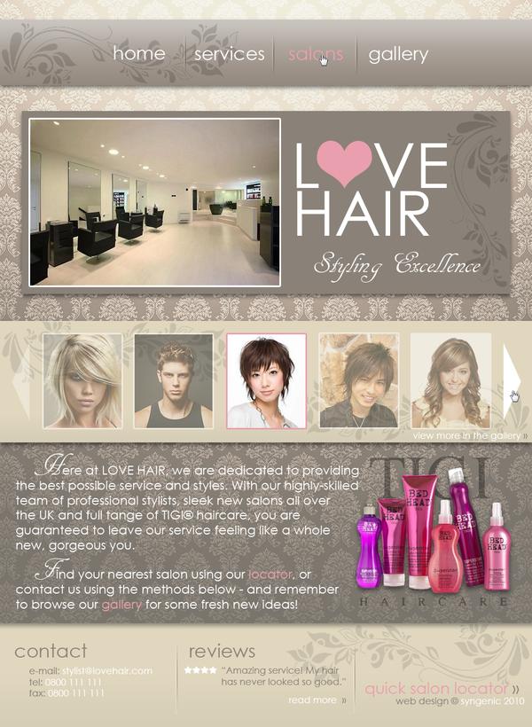 LOVE HAIR Website Design by Kezzi-Rose