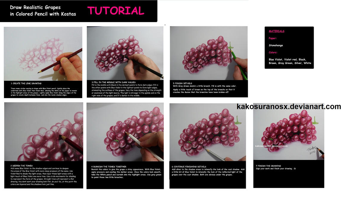 Colored Pencil Drawing Tutorial - Realistic Grapes By Kakosuranosx On DeviantArt
