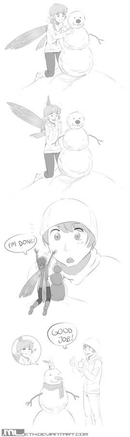 Erylia builds a snowman