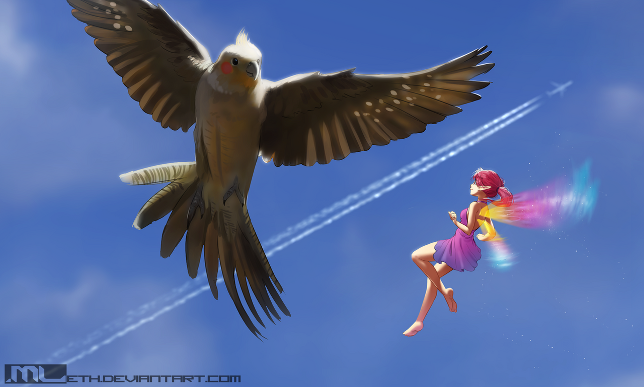Erylia finds a partner in flight by MLeth