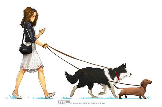 Brooke walking dogs