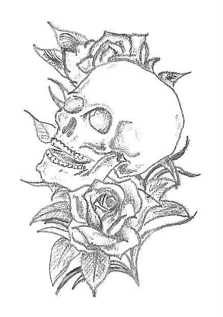 Skull And Roses Tattoo Design By Carrieannnn On Deviantart