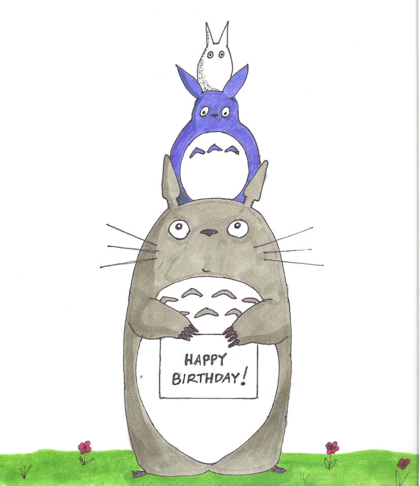 Totoro birthday card by oOhamsterOo on DeviantArt – Totoro Birthday Card