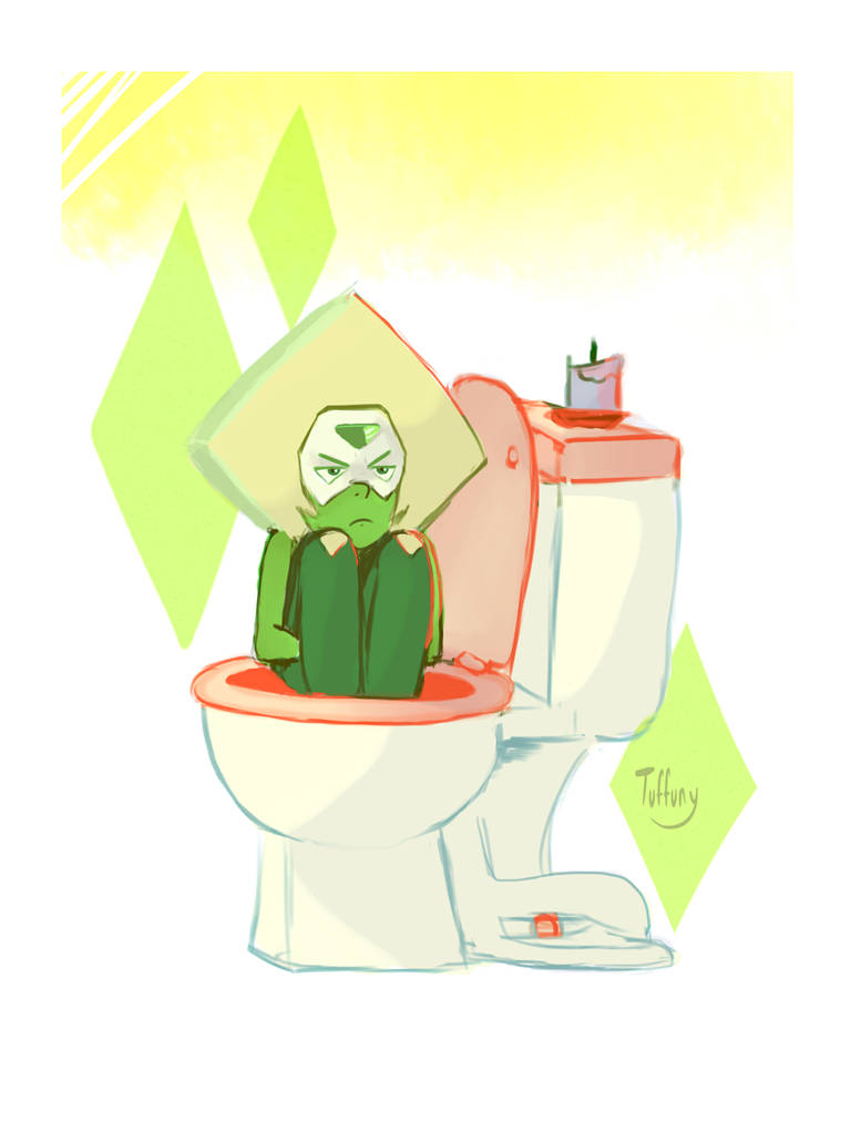 In other news, Steven's smol angry pet triangle tries to flush herself down the toilet...  It doesn't work according to Amethyst.