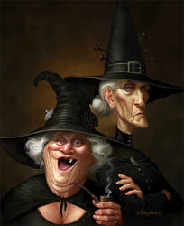 Nanny Ogg Granny Weatherwax by Loopydave