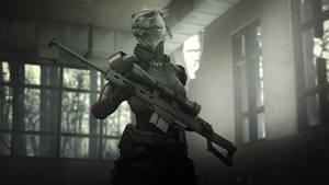 Lizard and rifle
