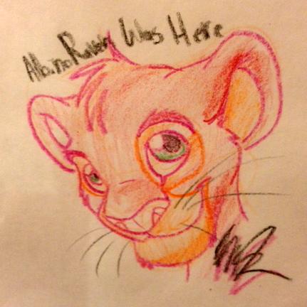 Crayon Paper Simba by albinoraven666fanart