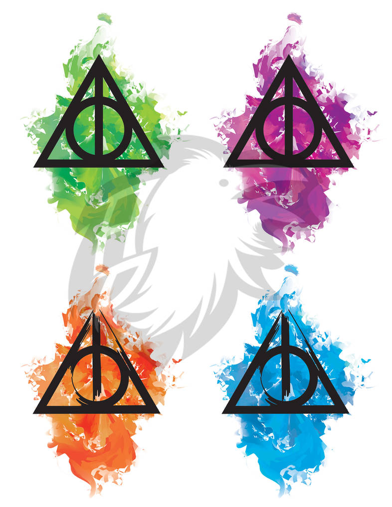 06e6620f4 Deathly Hallows Watercolor Tattoos by albinoraven666fanart on DeviantArt
