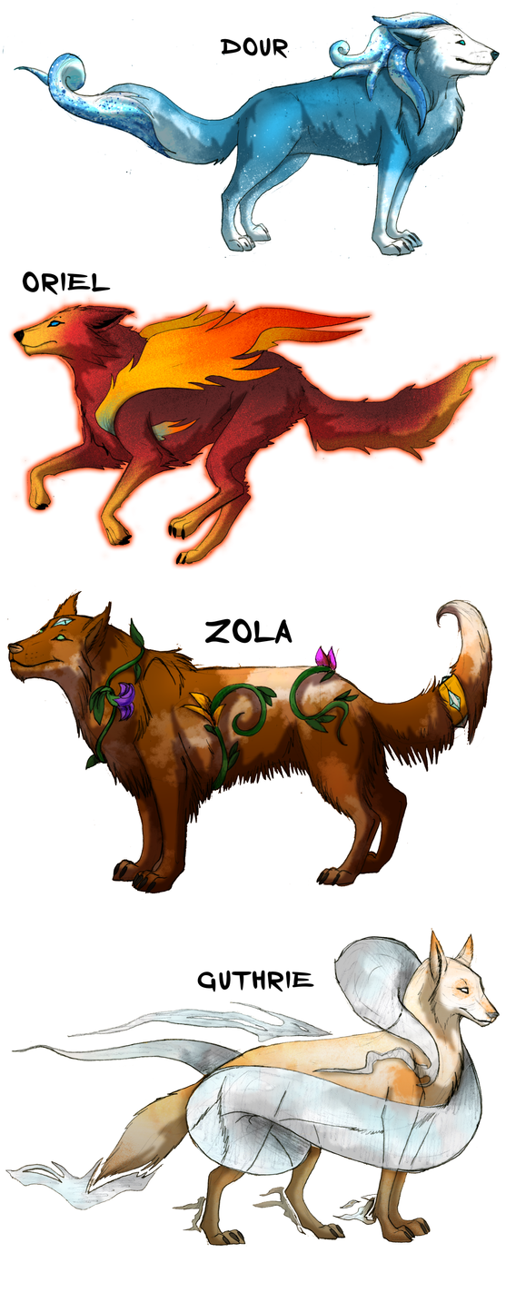 Elemental Wolf Deities by albinoraven666fanart on DeviantArt