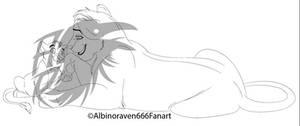 LionessAndCub:FullBody:Talking- LINE ART