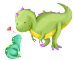 Mumma Baby Rex Love by albinoraven666fanart