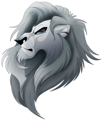 Random Grey Lion Head by albinoraven666fanart