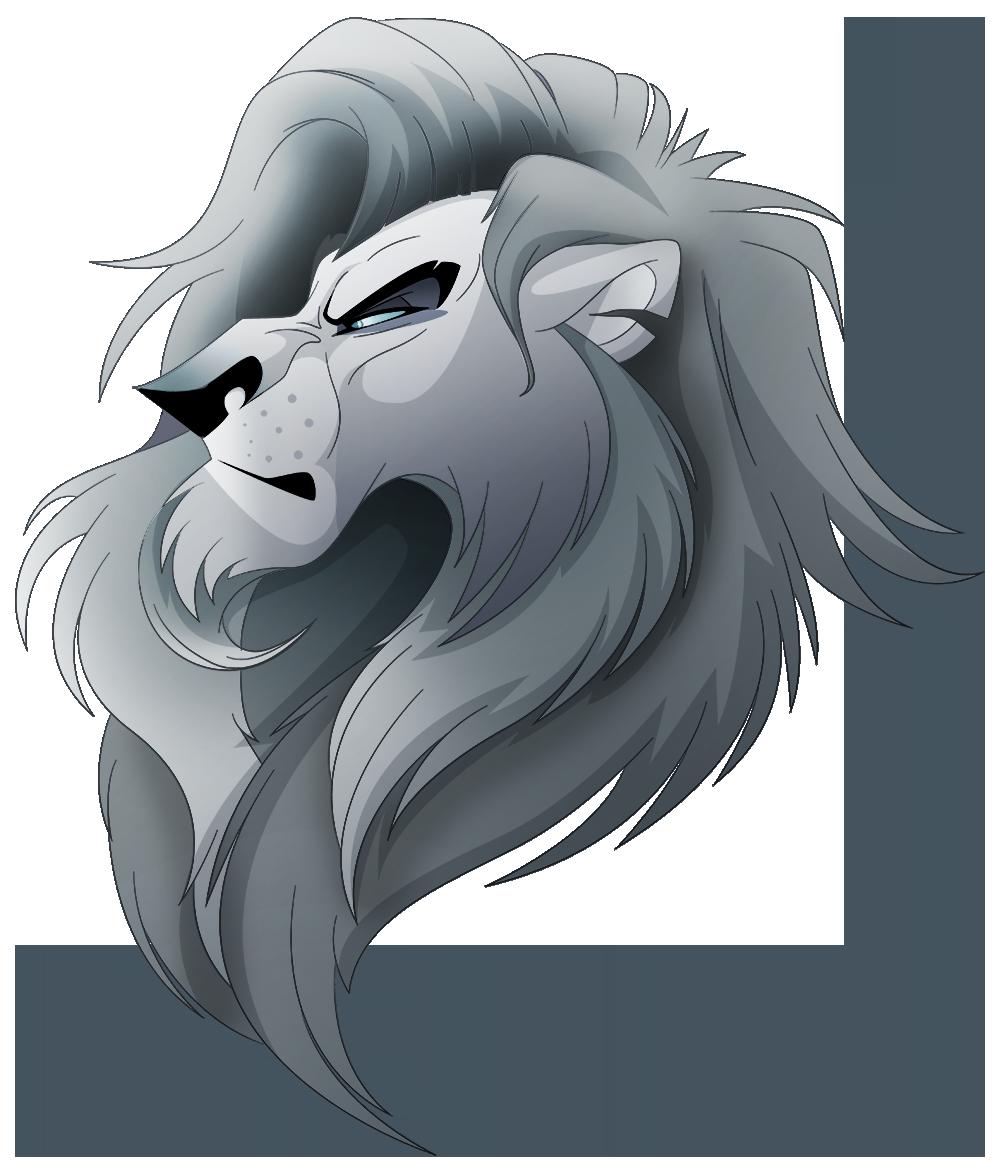 Random Grey Lion Head by albinoraven666fanart