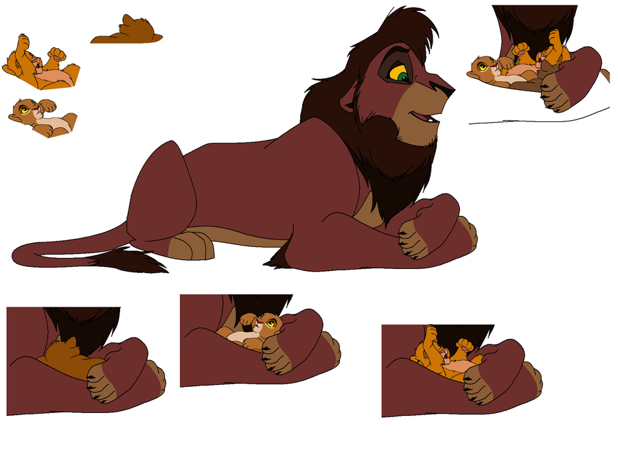 Kovu and cubs base by kisini