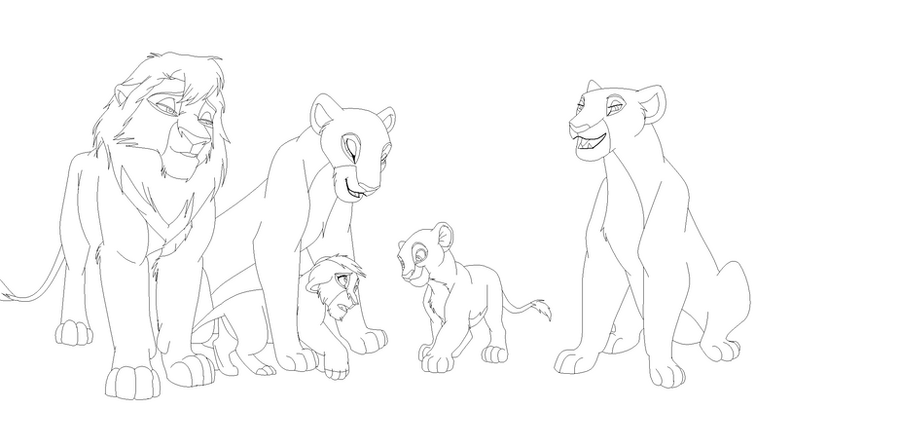 Base of an art trade- Lion Family by kisini