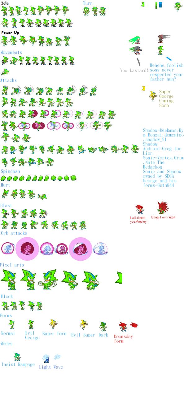 George the Hedgehog sprites sheet updated by Phantom644