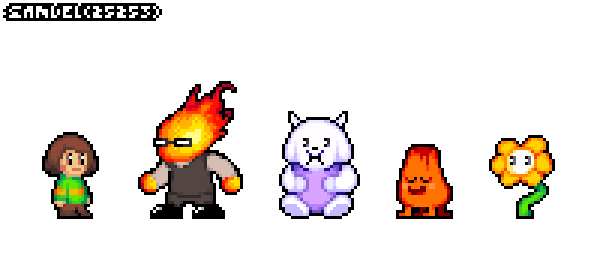 Undertale Cast in the Kirby GBA sprite-style