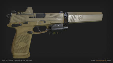 FNP45 Tactical 3D low poly model