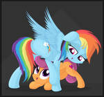 Rainbow Dash and Scootaloo playing