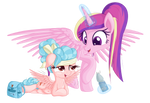 Cozy Glow and Cadance tired