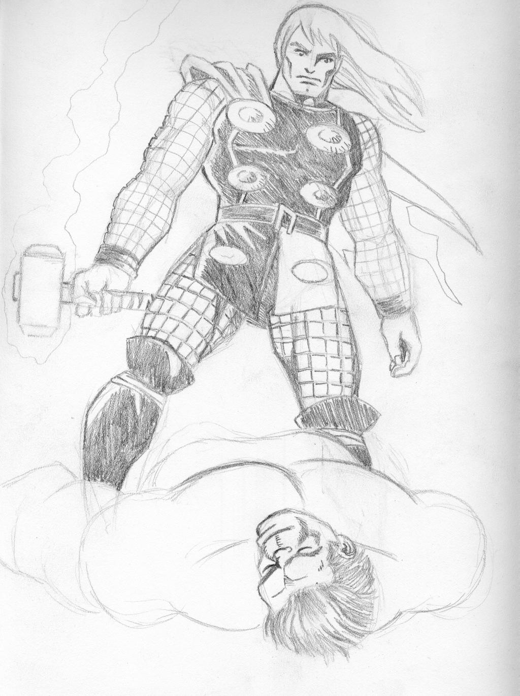 Thor Vs Hulk Sketch By Ragnaroker On DeviantArt
