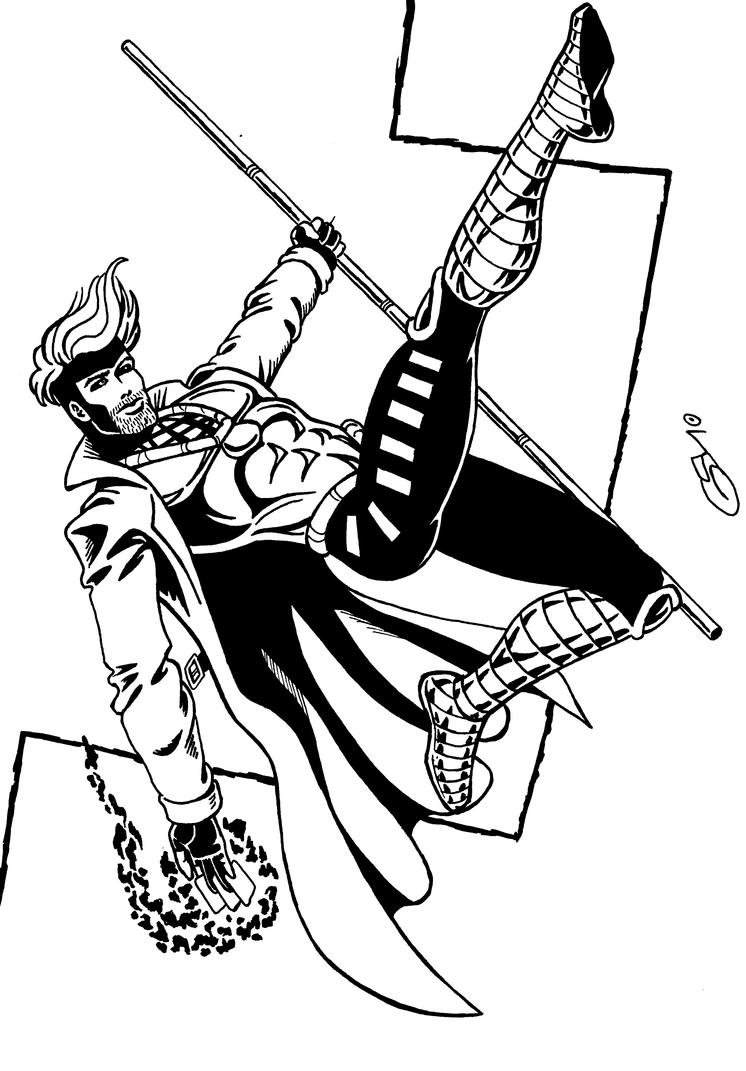 gambit of the x men inked by ragnaroker on deviantart