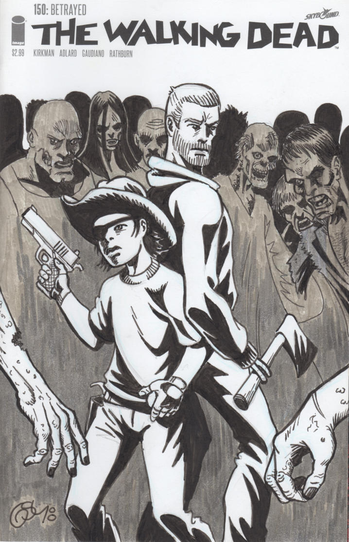 The Walking Dead #150 (sketch cover) Carl and Rick by Ragnaroker