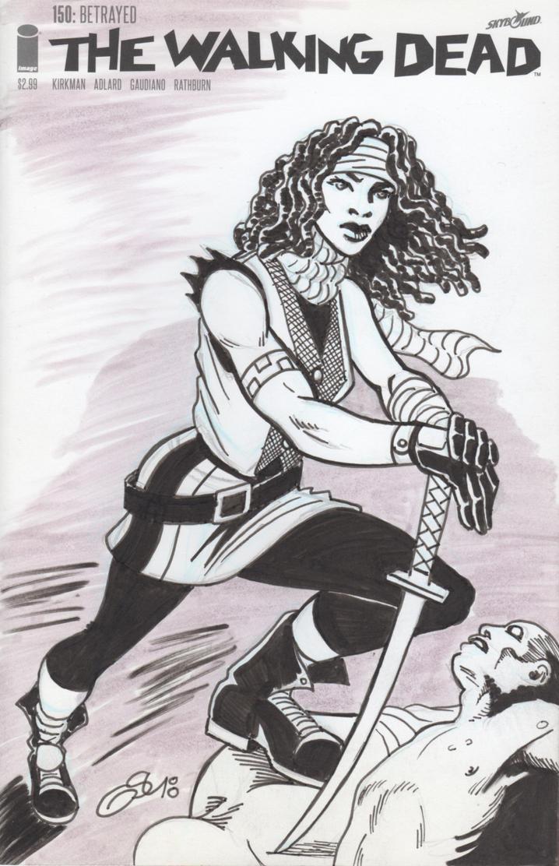The Walking Dead #150 (sketch cover) Michonne by Ragnaroker