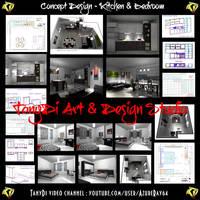 Concept Design - Kitchen and Bedroom by AzureRayArt