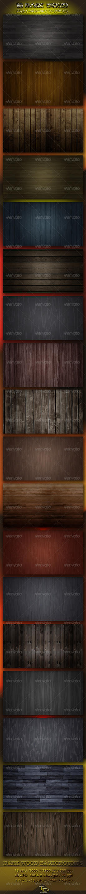 18 Dark Wood Backgrounds by AzureRayArt